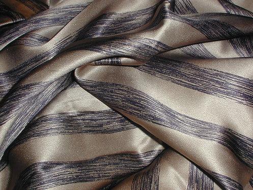 Black/Tan Striped Print Silk Charmeuse