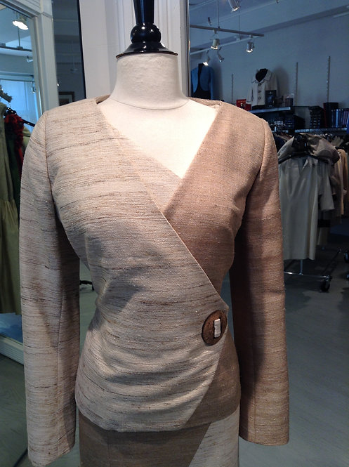 V-Neck Wrap Jacket w/ Buckle Detail