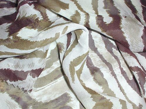Brown/Beige Zebra Striped Print Silk Chiffon
