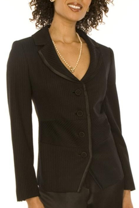 Black Satin Stripe Cutaway 4 Button Jacket w/ Trim