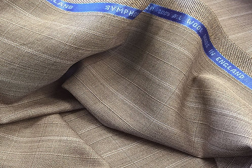 Taupe Textured Pinstripe Super 100's Wool