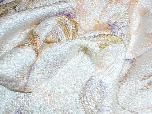 Ivory/Pink/Blue/Lilac Floral Jacquard Print Silk Charmeuse-S388
