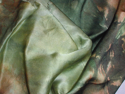 Green/Beige Multi Colored Silk Charmeuse