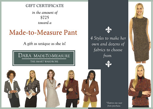 Gift Certificate for DARA Made to Measure Pant