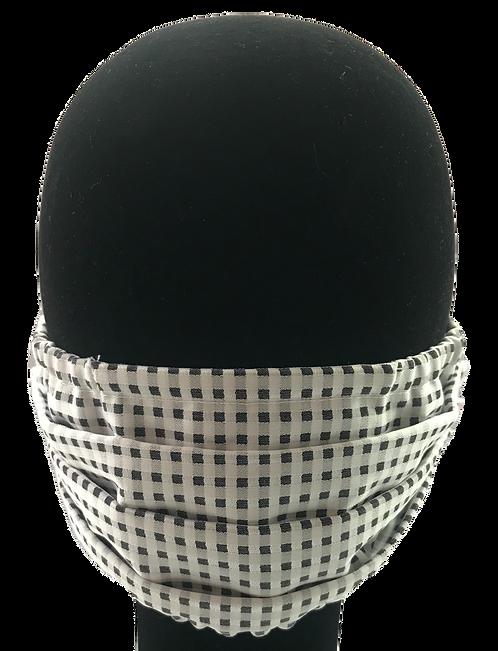 White/Grey basketweave 100% Cotton Mask w/Filter Pocket