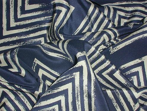 Navy Blue/Beige Tribal Print Silk Charmeuse