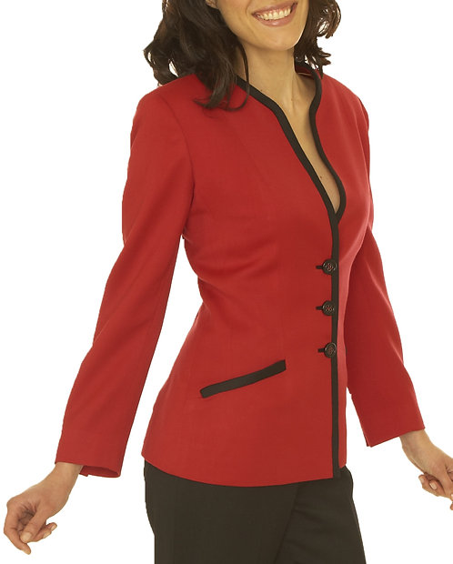 Red with Black Trim 3 Button Jacket