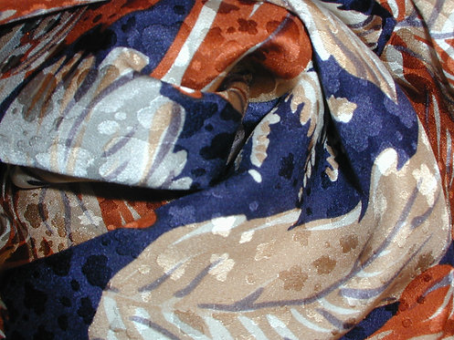 Navy Blue/ Beige/ Burnt Orange /Multi Abstract Jacquard Print Silk Charmeuse