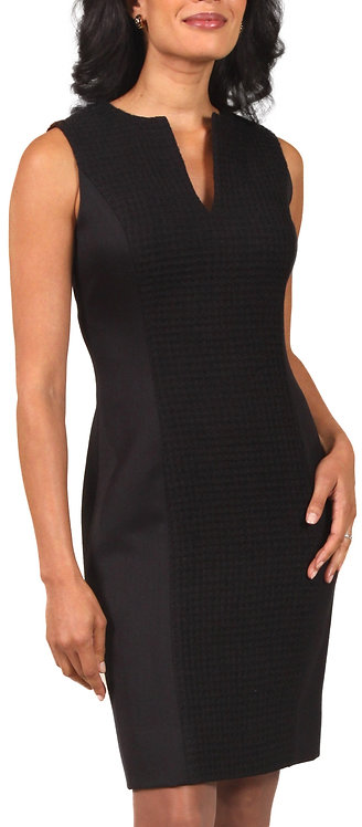 Textured Black Italian Wool Paneled Sheath Dress