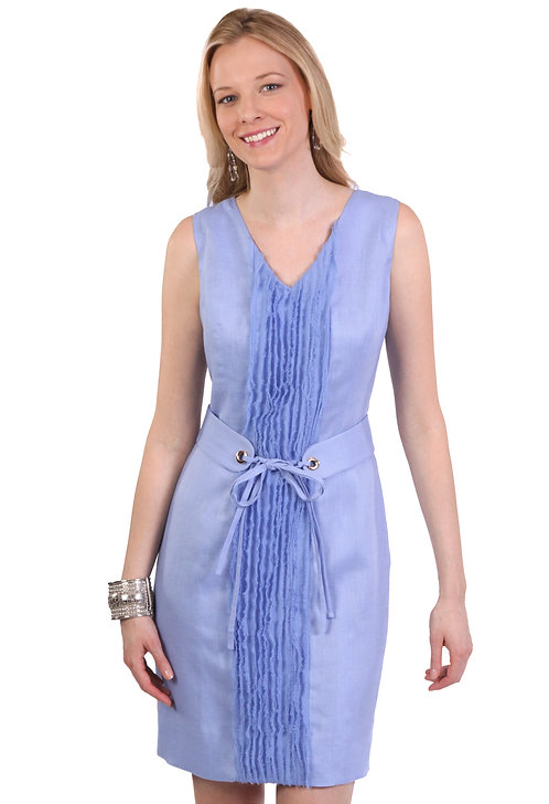 V-Neck Sheath Dress w/ Belt & Hand-Fringed Chiffon