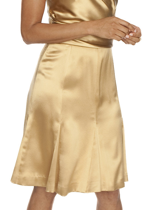 Gold crepe backed satin 8 Gore Skirt w/ Godets