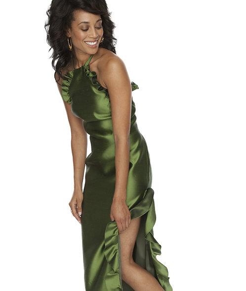 Halter Gown w/ Ruffle Detail
