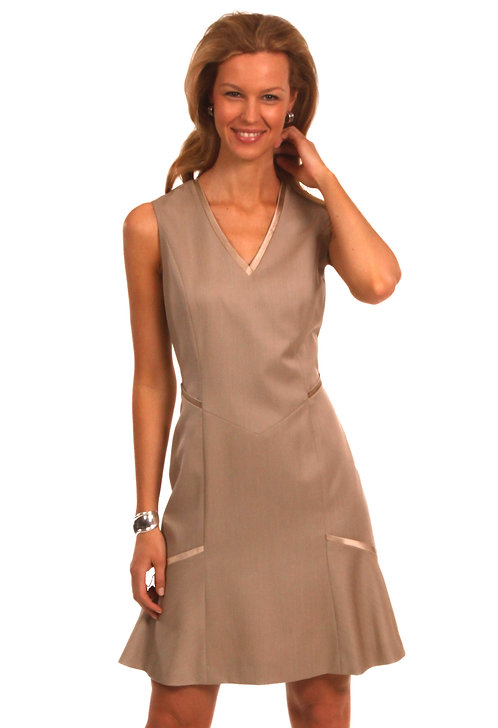 V-Neck Flared Dress w/ Silk Satin Trim