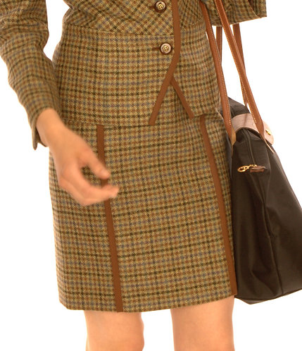 Brown Olive and Lavender Grid English Wool Straight Skirt