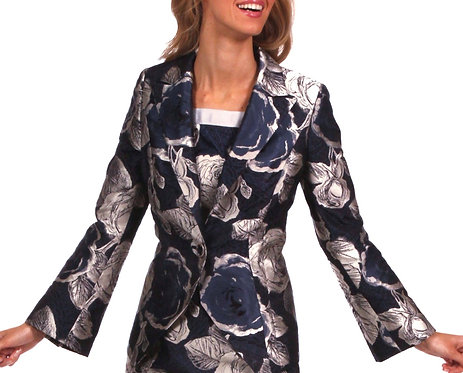 Blue and Gold Floral Italian Jacquard Evening Jacket