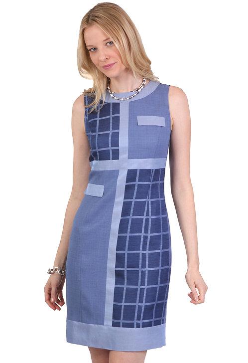 Round Neck Paneled Mondrian Dress