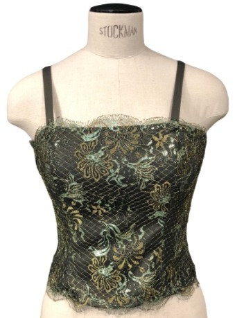 Green Italian Silk with Lace Overlay Bodice Top