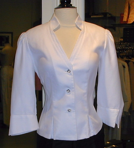 V-Neck Stand Collar Blouse w/ Pleats