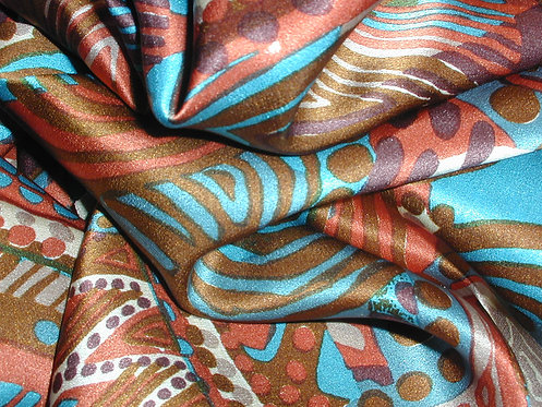 S399 - Turquoise/Brown/Red/Multi Abstract Print Silk Charmeuse