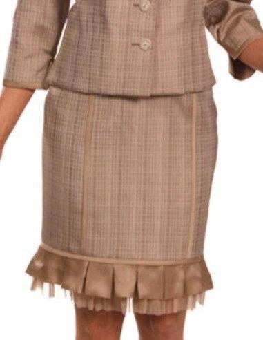 Beige Grid Silk Straight Skirt with Ruffle Trim