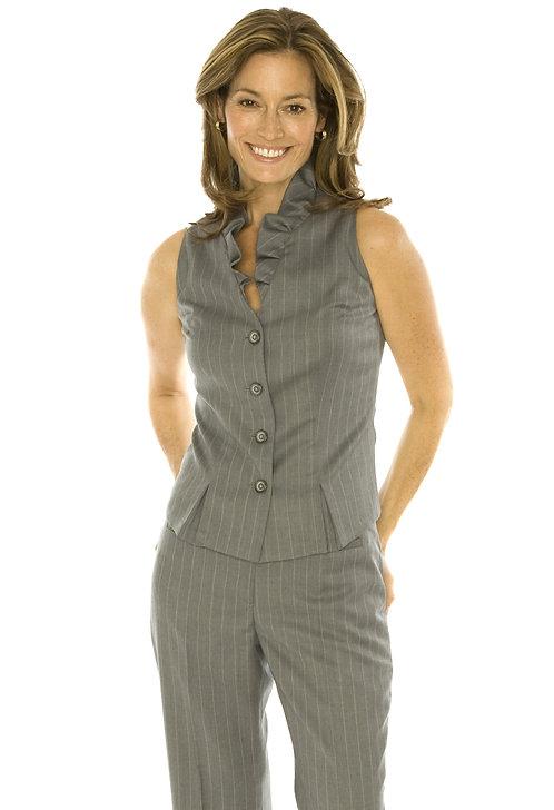Grey w/Beige Pin Wool V-Neck Vest w/ Ruffle Detail