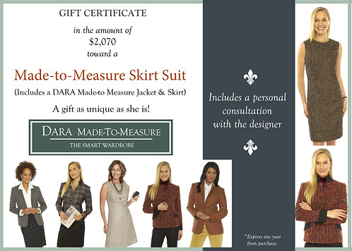 Gift Certificate-DARA Made to Measure Skirt Suit