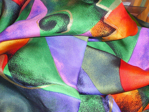 Green/Orange/Black/Gold Multi Colored Abstract Print Silk Charmeuse