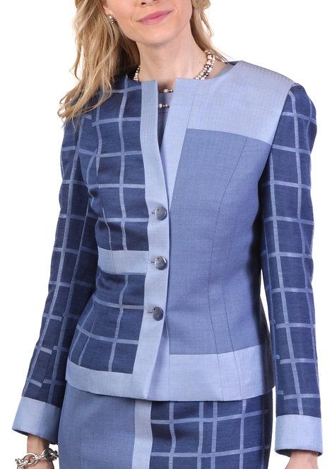 Blue Linen Patch Mondrian 3 Button Jacket