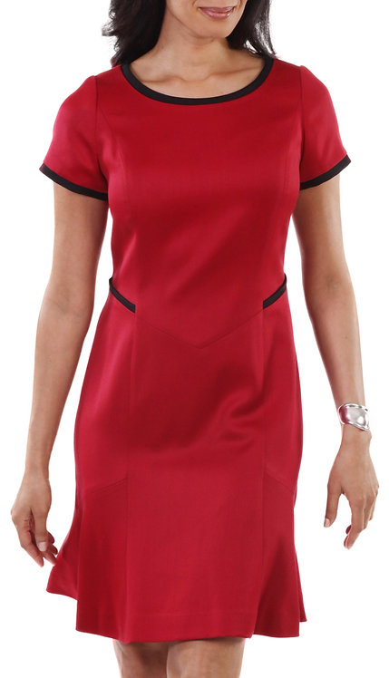 Red and Black Italian Wool 3/4 Sleeve Sheath Dress
