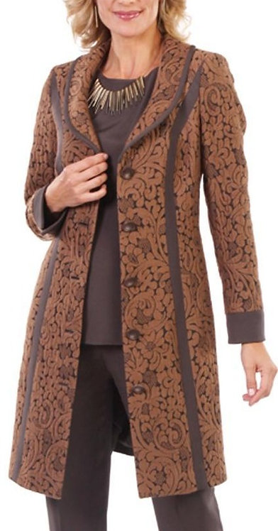 Chocolate & Camel Floral Wool Jacquard 3/4 Length Coat