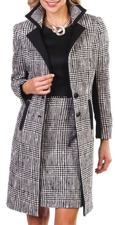 Black and White Plaid Italian Wool 3/4 Length Jacket