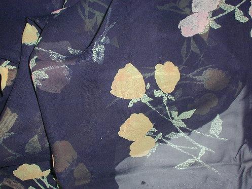 Black/Yellow Multi Colored Floral Silk Chiffon