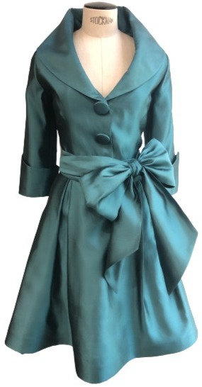 Teal Silk Shawl Collar 3/4 Sleeve Flared Dress w/ Sash