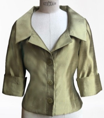 Green Silk Shantung Portrait Collar Cocktail Flash Jacket