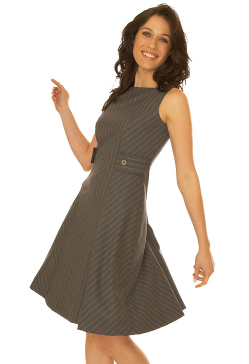 Grey Tropical Wool Boatnk Flare dress w/Tab Detail