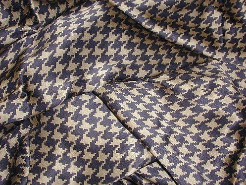 Black/Tan Houndstooth Silk Charmeuse