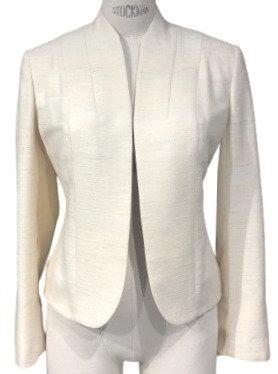 Ivory Italian Silk Linen Open Round Hem Jacket