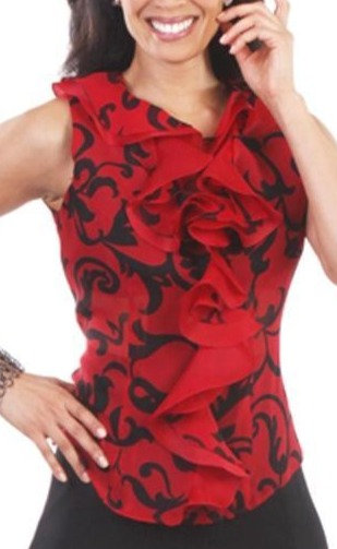 Red & Black Abstract Silk Double Layer Ruffle Collar Sleeveless Jacket