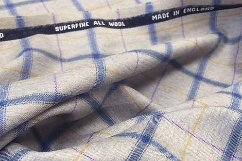Light Gray/Blue Windowpane Superfine Wool Plaid