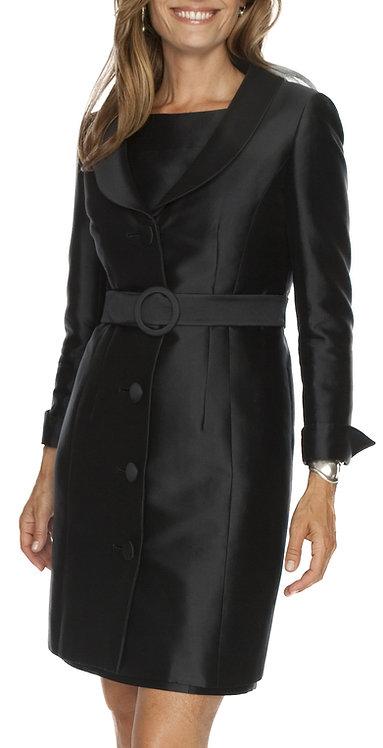 Midnight Navy Italian Silk 3/4 Length Evening Jacket