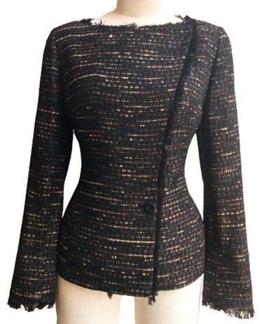 Navy Copper Pink Woven Italian Wool Asymmetrical Jacket