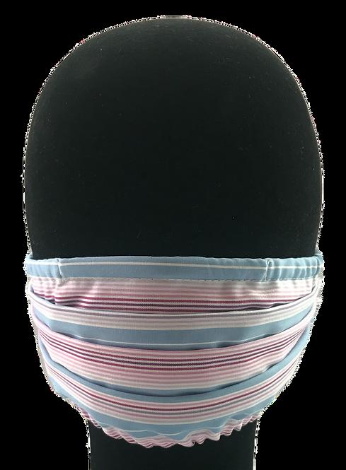 Multi Pink/Blue stripe 100% Cotton Mask w/Filter Pocket