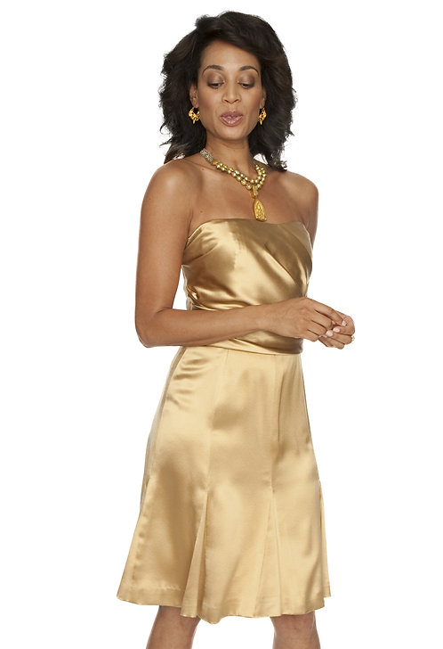 Gold Silk Charmeuse Pleated Bustier