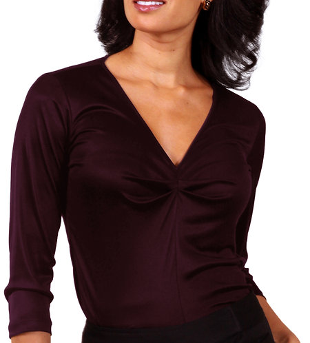 Shirred V-Neck - Wine