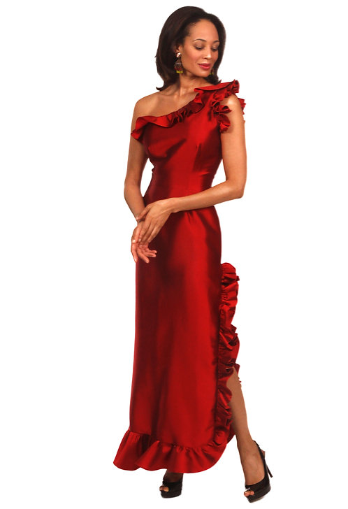 One Shoulder Gown w/ Ruffle Detail