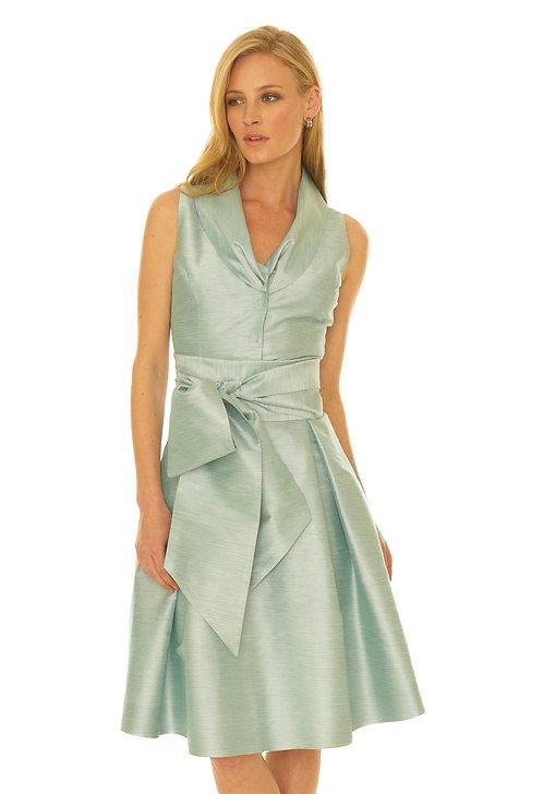 Tucked Shawl Collar Flare Dress w/ Sash