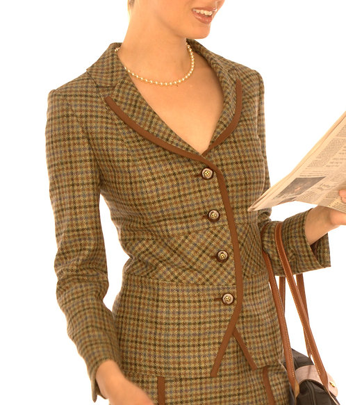 Brown Olive Lavender Grid Wool Portrait Collar Jacket