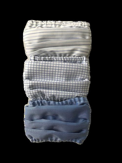 Blue Stripe-Blue Check-Blue Twill Multiset - 100% Cotton Mask w/Filter