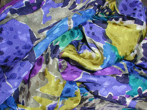 Blue/Green/Purple Multi Colored Floral Jacquard Print Silk Charmeuse