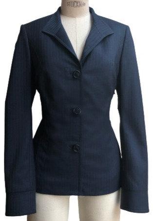 Navy Satin Stripe Italian Wool Stand Collar Jacket
